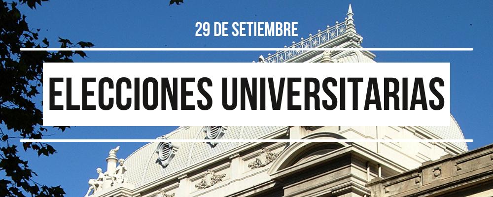 """Imagen fotográfica de cúpula de la Universidad de la República con texto: """"29 de setiembre. Elecciones universitarias"""""""