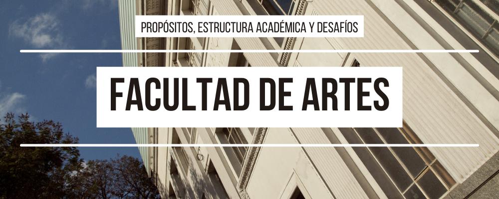 Imagen de fachada del ex Liceo Francés, ubicado en la Avda. 18 de Julio, con texto: Facultad de Artes: Propósitos, estructura académica y desafíos