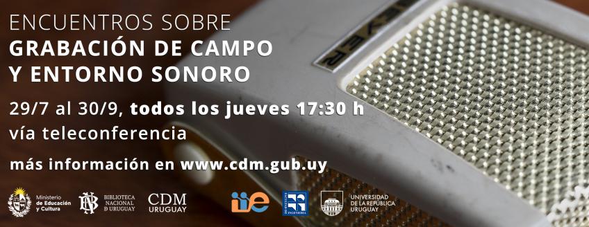 """Imagen de amplificador con texto: """"Encuentros sobre grabación de campo y entorno sonoro. 29/07 al 30"""